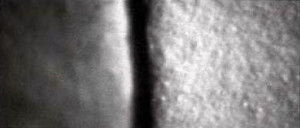 As magnified by a stereomicroscope, the surface of GOLDEN Matte Titanium White (left), compared to the surface of GOLDEN Gesso (right). Gesso provides a surface with much more tooth, promoting better adhesion.