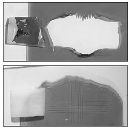 "Pictured here are images after a ""Tape Pull"" glass adhesion test done in the GOLDEN Lab. GAC 200 (bottom) demonstrates its ability to adhere to nonporous surfaces such as glass."