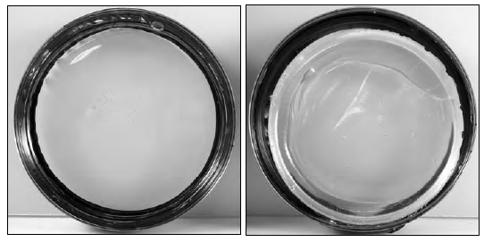 "GAC 800 is an acrylic polymer designed to reduce crazing in puddles, pours, and other thin pourable paint applications (left). As puddles dry, uneven drying rates within the layers of the pour can result in ""crazing,"" shrinkage crevices that run across the surface (right)."