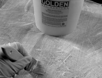 Materials are collaged to a polypropylene support using GOLDEN Regular Gel to create unique surfaces for inkjet printing.