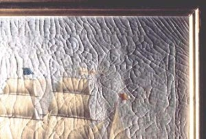 4. Classic stretching tension crack patterns on 19th century painting.