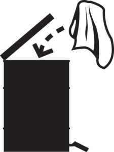 Pictogram indicating danger of spontaneous combustion.