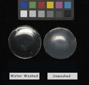 Figure 2: Surfactant Exudates - pours of acrylic disperson polymer. Right: untreated pour; Left: pour washed/soaked with water. After 2 weeks of drying, this pour was soaked in water for 10 minutes, then dried.