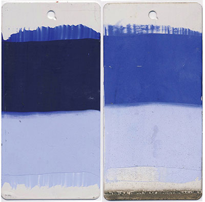 Ultramarine Blue. 10 mil. Masstone and 10:1 tint. Unvarnished. Left is unexposed, right after 3 year exposure.