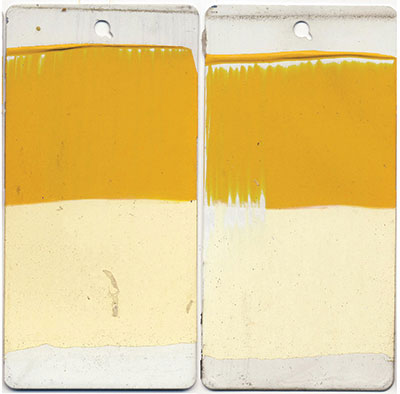 Diarylide Yellow. 10 mil. Masstone and 10:1 tint. Unvarnished. Left is unexposed, right after 3 year exposure.