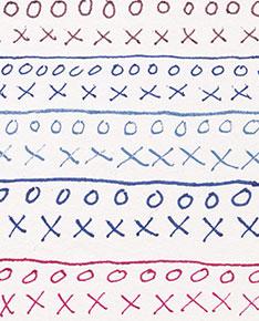 Anthraquinone Blue/Quin. Magenta, Ultramarine Blue, Anthra. Blue/Titanium White, Anthra. Blue and Quin. Magenta fine lines on Hot Pressed Watercolor Paper