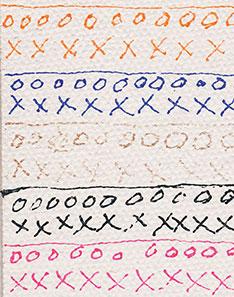 Fluorescent Orange, Ultramarine Blue, Iridescent Copper, Carbon Black & Fluorescent Pink fine lines on Gessoed Canvas