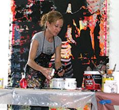 Artist Sarah Dineen exploring materials in her Artist Residence Studio