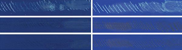 Figure 10: Fluid Cerulean Blue Deep (left) as compared to Matte Fluid Cerulean Blue, Chromium (right).