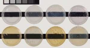 Various gloss acrylic gel medium, approximately 1/4 inch. Top row are unexposed controls. Bottom row demonstrates color change after exposure to 400 hours UVA.
