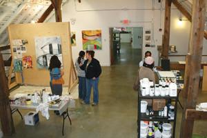 Lynette Stephenson's Studio during Open Studios at the Golden Foundation Residency Barn.