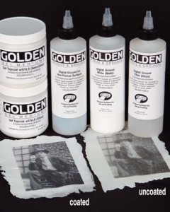 Examples of coated and uncoated ink-jet prints on GOLDEN Coarse Molding Paste on cheesecloth.