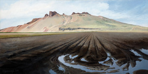 "Afternoon shadows on the Peninsula in October (series: Tulelake / Lava Beds), oil on gessoed hardboard, 12"" x 24"""