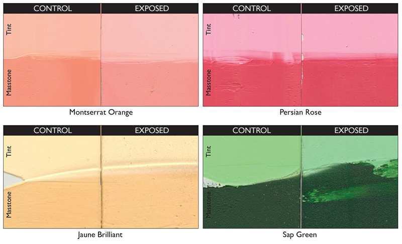 Test panels showing outdoor exposure results compared to unexposed controls. Jaune Brilliant showed little change and its formula will remain the same. Other blends will be changing and made with ASTM 1 rated pigments.