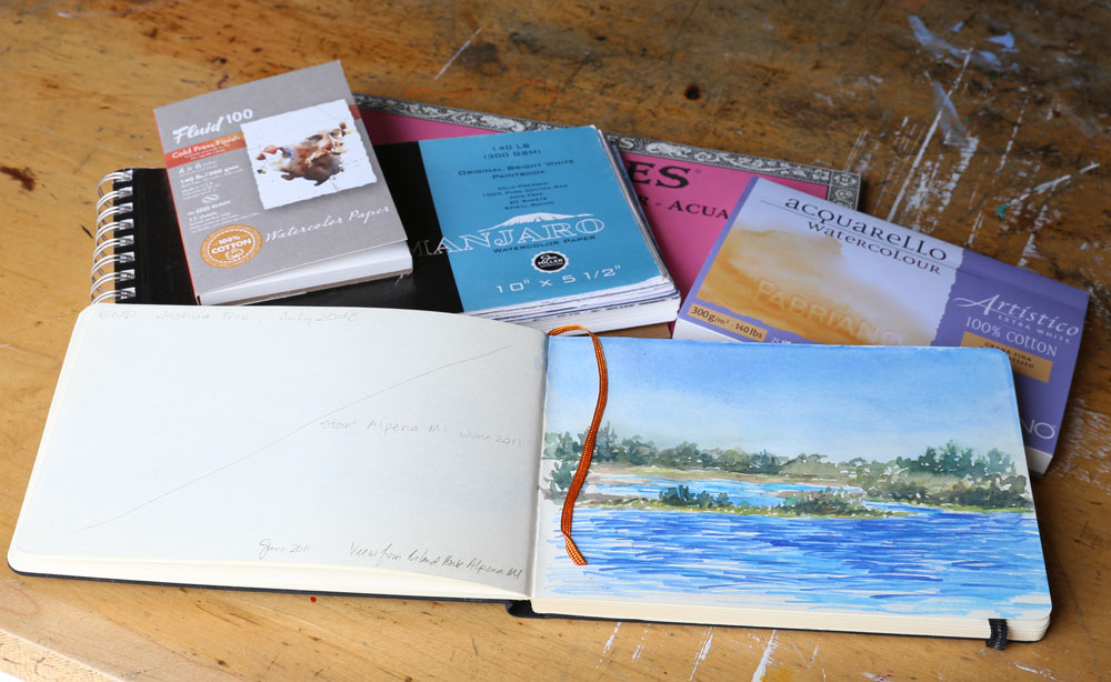 Examples of watercolor paper, watercolor paper blocks, and sketchbooks with watercolor paper.