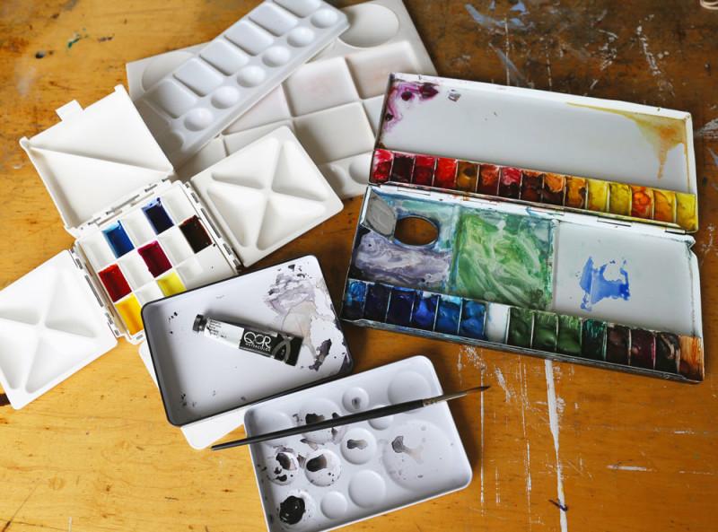 Various watercolor palettes.