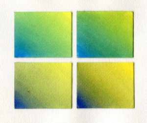 Mixing greens with QoR. Top left: Manganese Blue + Cadmium Yellow Primrose; Top right: Manganese Blue + Cadmium Yellow Medium. Bottom left: Ultramarine Blue + Cadmium Yellow Primrose; Bottom right: Ultramarine Blue + Cadmium Yellow Medium.