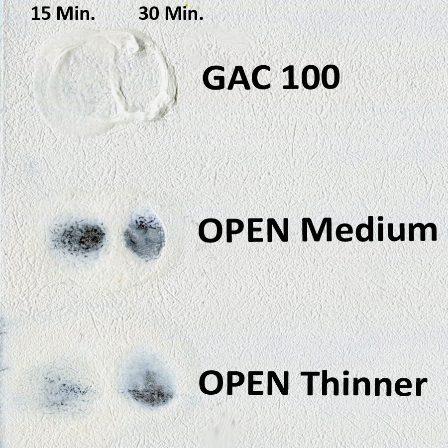 GAC 100, OPEN Medium and OPEN Thinner over two coats of Zinnser's B-I-N on a hardboard panel
