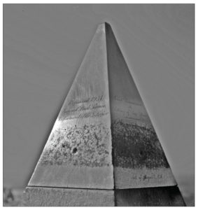 "The aluminum apex (9"" x 5"") from the Washington Monument was cast by William Frishmuth of Philadelphia, the only domestic producer of the ore. At that time, it was a rare metal more valuable than silver."