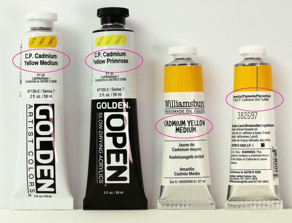 C.P. Cadmium on tubes of GOLDEN Acrylics and Williamsburg Handmade Oil Colors
