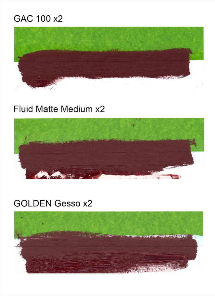 Sealing the edge of the tape with two coats of GAC 100, Fluid Matte Medium, or three coats of Golden's acrylic Gesso, was not effective at preventing the matte effect.