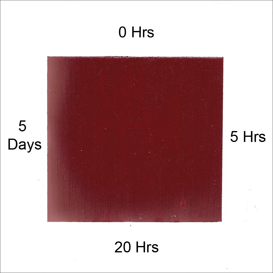 Example showing the impact of different amounts of time that the paint and tape are in contact. Color shown is Williamsburg Mars Violet.