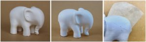 ABS FDM-printed elephant coated with Molding Paste and Sandable Hard Gesso (middle image) and adhesion test showing good – adequate adhesion of the Sandable Hard Gesso (right image).